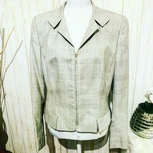W by Worth Glen Plaid Gray Jacket Size 14